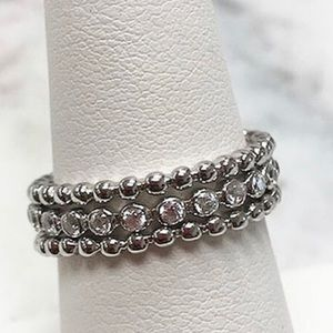 .925 Sterling Silver Three Stackable rings sz 7